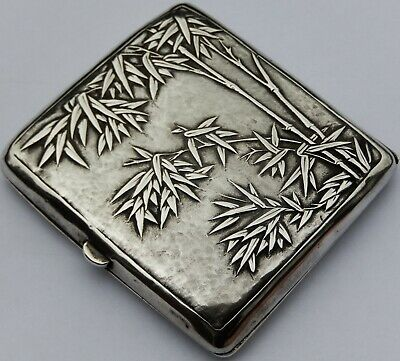 Fine Antique Chinese Export Solid Silver Cigarette Case c1890
