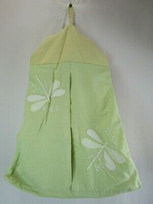 Green Yellow Embroidered Dragonfly Diaper Caddy Holder Nursery Storage Decor