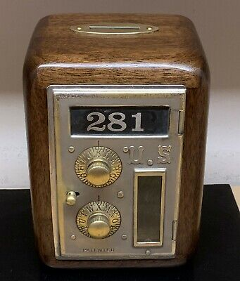 Post Office Box Door Bank-Circa 1896-Dial & Pointer-Flat Glass-Size 1-Walnut