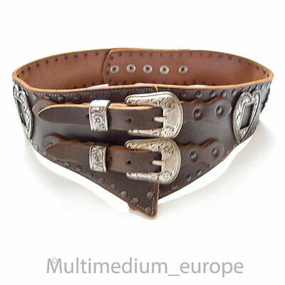 Wide Traditional Costume Real Leather Belt Heart Edelweiss Uniform Vintage