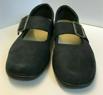 Black cloud comfortable Hotter shoes UK 9 with big buckle closed toe