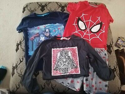 Boys Age 7-8 Spiderman, Captain America And Star wars Bundle M&S H&m