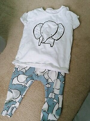 Baby Boys NEXT Blue Elephant Print Top And Leggings Set Outfit 6-9 Months