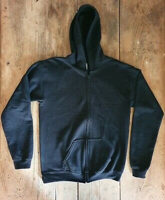 Unisex Plain Black Zip-up Hoodie - age 11-12