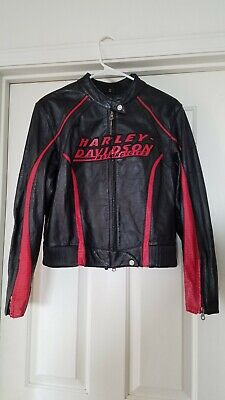 Harley Davidson Leather Jacket Black And Red Spell Out Biker Women's SZ  Medium
