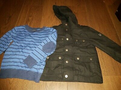 Boys Black Firetrap Jacket And Boys Blue Stripey Next Jumper Age 3 Bundle X 2