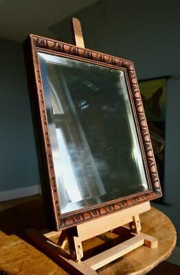 "SUPERB ANTIQUE CARVED OAK PICTURE FRAME/MIRROR 12"" X 10"" REBATE v ARTS & CRAFTS"