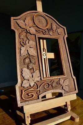 "SUPERB ANTIQUE EDWARDIAN CARVED OAK PICTURE FRAME 6"" X 4"" REBATE v ARTS & CRAFTS"