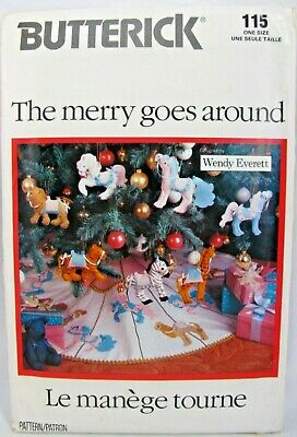 Butterick 4351 Pattern Merry Goes Around Christmas Ornaments Carousel Animals