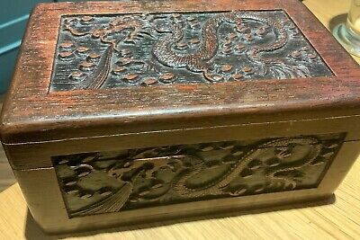 Antique Chinese Wooden Box With Relief Dragon and Trees Decoration Circa 1900