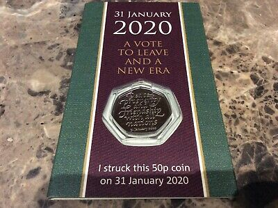 Strike Your Own 2020 Brexit 50p Coin 31st January Dated Packaging
