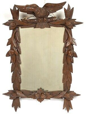 ANTIQUE Black Forest CARVED WOODEN Crested Eagle MIRROR Folk Art Vintage Bohemia