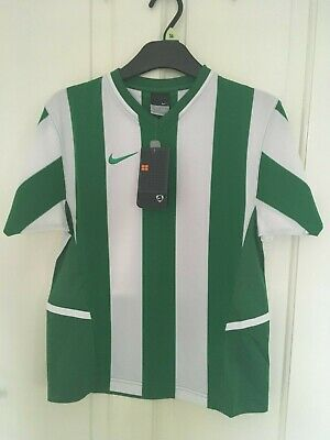 Boys green and white striped Nike football top aged 10/12 years nwt