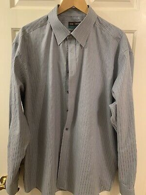 "M&S Grey With Blue Stripe Shirt 18.5"" Collar"