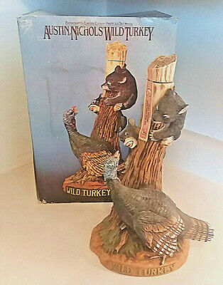 """1985 Wild Turkey """"Turkey And Bears"""" #9 Limited Edition Full Size Decanter W/Box"""