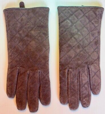 Marks and Spencer Brown Suede Quilted Gloves Size Small/medium