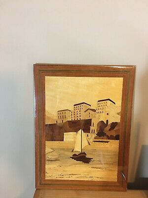 Vintage Italian Wood Inlaid Marquetry Picture Art