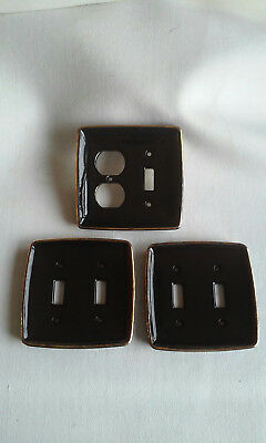 3 porcelain ceramic light switch covers vintage black with gilt gold edges
