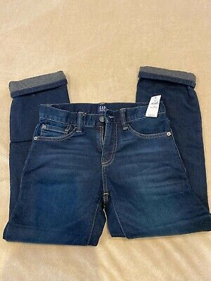 NWT Gap Kids Boys Size 10 Jersey Lined Winter Denim Blue Jeans