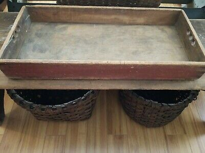 Antique Primitive Old Early Original Red Paint Apple Tray Box Carrier
