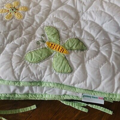 Pottery Barn Kids Quilted Crib Bumper - Baby Girls - Butterfly Flower