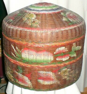 Vintage Chinese Woven Hand Painted Stacked Wedding Basket