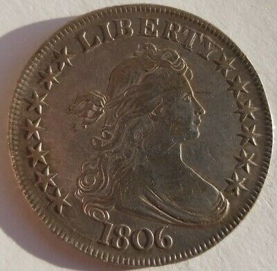1806 Pointed 6 with Stem Draped Bust Half Dollar  XF/AU Details Neck Scratch