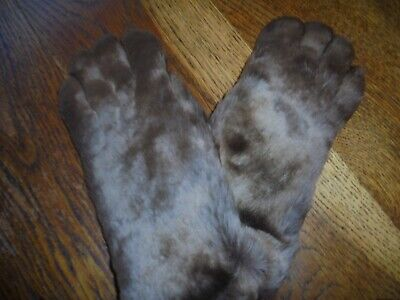 a PR UNWORN VINTAGE REAL ANIMAL FUR AND LEATHER GLOVES BROWN  LEATHER Wool LINED