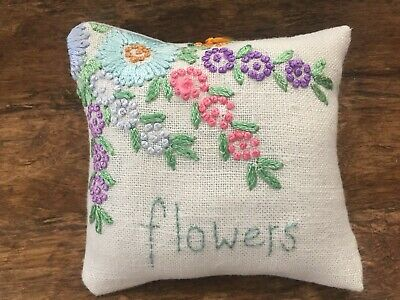 Primitive  Stitchery Vintage Linen and Embroidery Ornie Bowl Filler Flowers
