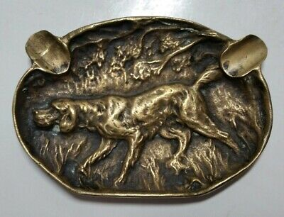 Vtg Cast Bronze Brass Ashtray Retriever Hunting Pointer Dog Cabin Mid Century