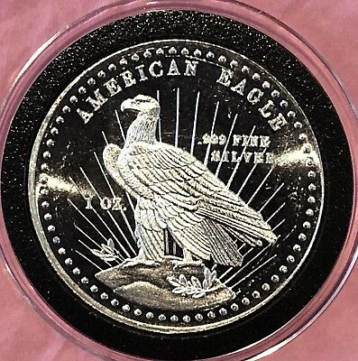 1981 American Eagle World Wide Mint 1 Troy Oz .999 Fine Silver Round Coin Medal
