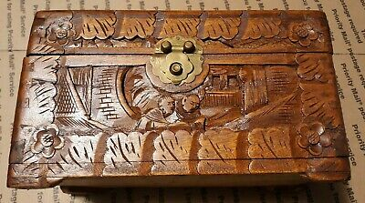 """Antique Hand Carved Chinese? Camphor? Wood Box 10"""" X 6"""" X 5.75"""""""