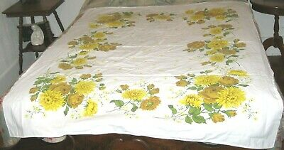 """VINTAGE MID CENTURY COTTON PRINT TABLECLOTH YELLOW & GOLD FLOWERS 52"""" x 62"""""""