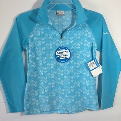 youth girls Columbia Blue Glacial Print Half Zip Lightweight Fleece Jacket