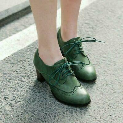 Womens Brogue Shoes Lace Up Mid High Chunky Heels Wing Tip Oxfords Shoes US 8