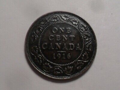 1916 Nice Higher Grade Canada Bronze One Cent Low Mintage 11,022,367!