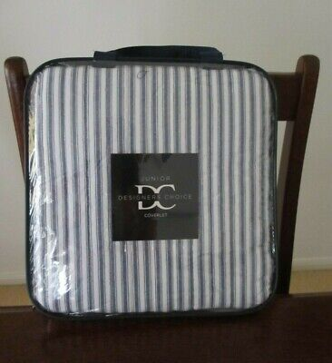 Designers Choice blue & white striped Cameron quilted cot coverlet - BRAND NEW