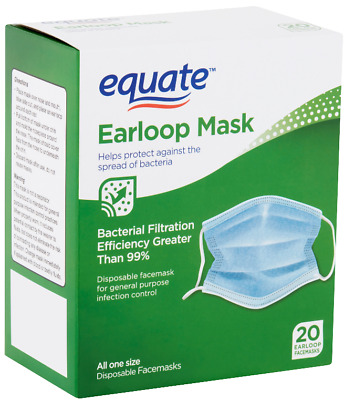 Earloop Face Mask Equate Disposable Anti Viral Protection 120 Count (6 Boxes)