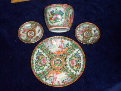 4 Vintage Chinese Rose Medallion Porcelain Items - 2 Butter Plates - Saucer -