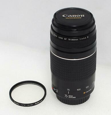 Mint Canon EF 75-300mm F/4-5.6 III Telephoto Zoom Lens w UV Filter Works Great