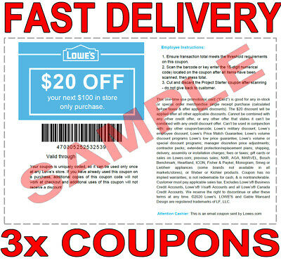 3× Lowes $20 OFF $100 FAST DELIVERY-3COUPON INSTORE DISCOUNT ONLY 𝐄𝐗𝐏 𝟒/𝟎𝟔