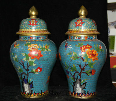 "14.8"" Marked Old China Cloisonne Bronze Dynasty Flower Birds General Tank Pair"