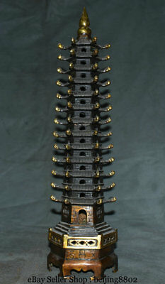 "18.4"" Old Chinese Temple Red Copper Wenchang Buddha Stupa Pagoda Tower Statue"