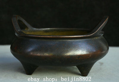 "7"" Old Marked Chinese dynasty palace Bronze 3 Foot Pot incense burner Censer"