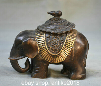 "5.6"" Old Chinese Bronze Feng Shui Elephant Flower Incense Burners Statue"