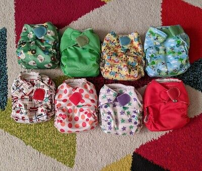 Lot of 8 Totsbots Reusable Cloth Diapers One Size All in 1 Washable Nappy