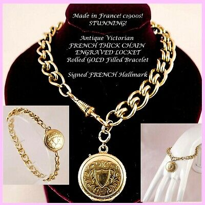 Antique Victorian FRENCH THICK CHAIN ENGRAVED LOCKET GOLD F Bracelet SIGNED 1900