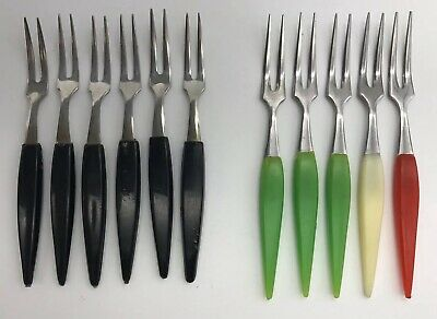 Vintage Plastic Handled Cocktail Forks Mixed Lot Stainless Steel Japan x 11
