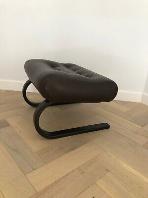 Mid Century Retro Vintage Danish Skyline Coco Leather Bent Wood Foot Stool 70s