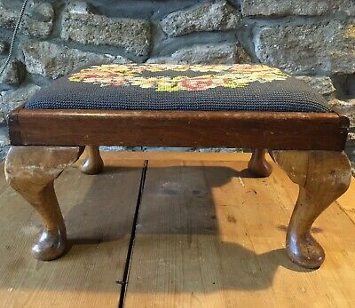 vintage / Antique tapestry needlepoint stool footstool cabriole legs